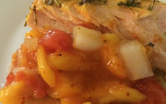 mustard-broiled-salmon-papaya-salsa